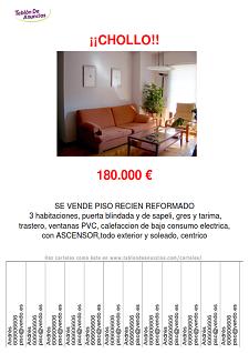 Ejemplo de carteles para anunciar pisos