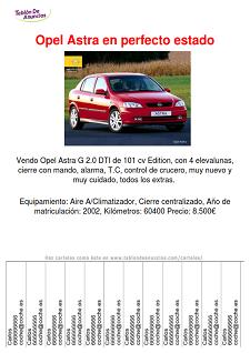 Ejemplo de carteles Se vende coche