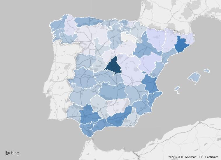 Mapa de las provincias donde más se venden videojuegos de segunda mano por internet