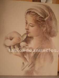 Plumilla y pastel sobre carton del artista español m. Vicens