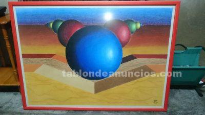Cuadro moderno enmarcado pintado a mano por 27 euros