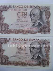 Billetes 100 pesetas serie correlativa