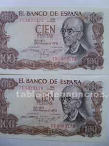 Billetes 100 pesetas serie correlativa