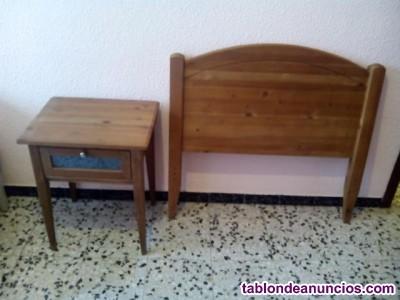 Cabecero, mesilla  y silla de madera maciza
