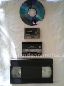 Conversión de cintas vhs,vhs-c,minidv,hi-8 y video 8 a dvd