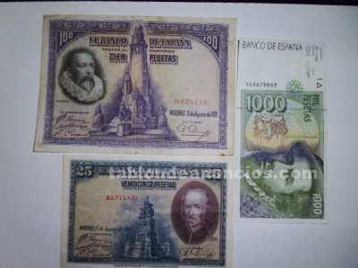 Billetes de 1000 pesetas 100 y 25