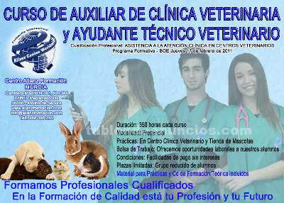 Cursos Auxiliar de Clínica Veterinaria y Ayudante Técnico Veterinario