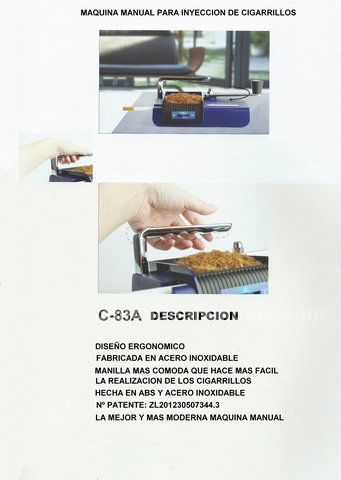 Maquina manual de entubar cigarrillos