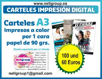 Oferta 100 carteles a 3 full color 1 cara papel 90 gr