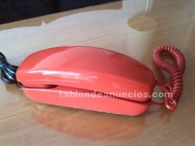 Teléfono góndola, años 70, rojo, pop.