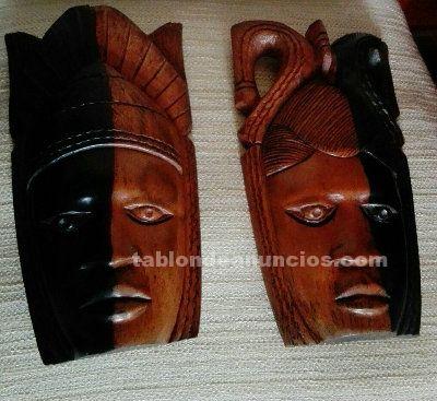 Duo mascaras africanas de ebano  autenticas