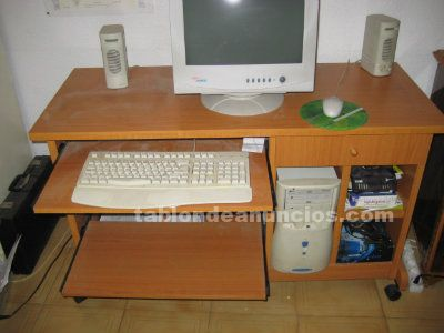 Tabl n de anuncios mesa de ordenador de madera con ruedas - Mesas ordenador con ruedas ...