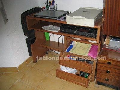 Tabl n de anuncios mesa de ordenador ruedas de 98 5x42x79cm - Mesa de ordenador con ruedas ...