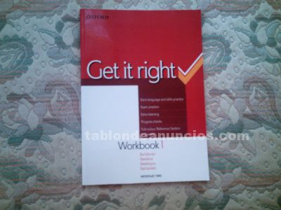 Vendo get it right 1 workbook  book, de 2º de bachillerato. Editorial oxford. Si