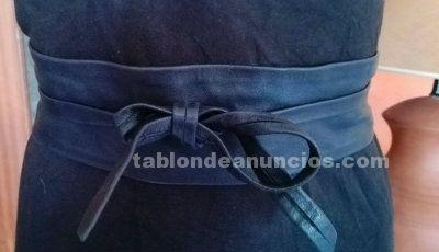 Cinturon fajin de cuero negro