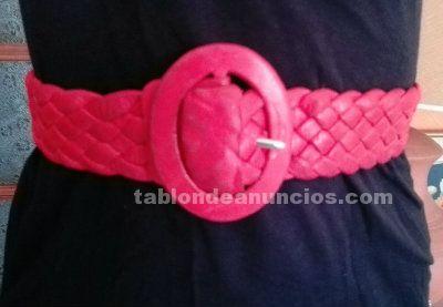 Cinturon ancho trenzado de cuero