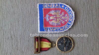 Medalla militar antigua epoca franco y parche