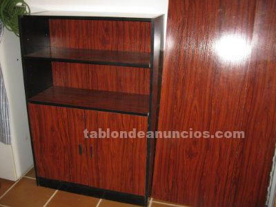 Mesa despacho y armario nogal