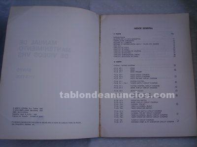 Manual mantenimiento video sanyo vhs, vhr 1500