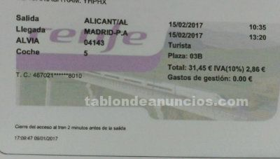 Vendo billete alvia  destino alicante /  madrid atocha