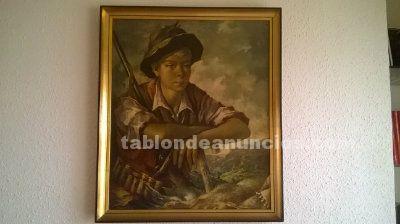 Cuadro joven cazador de huetos 68x58 cms.