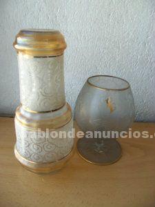 Licorera y copa brandy vintage cristal tallado