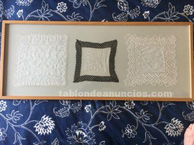 Conjunto nueve pañuelos enmarcados . Antiguos. Hilo + batista + cuatro de seda