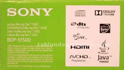 Reproductor de blu-ray disc/dvd player sony bdp-s1500