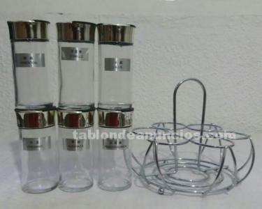 Especiero de cristal con soporte metálico