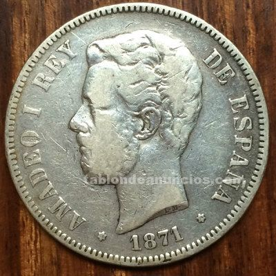 Moneda 5 pesetas plata 1871 amadeo