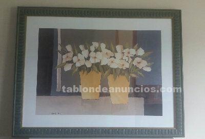 Cuadro de lamina con motivos florales