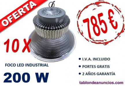 10 x campana led 200w smd 6500k blanco frio