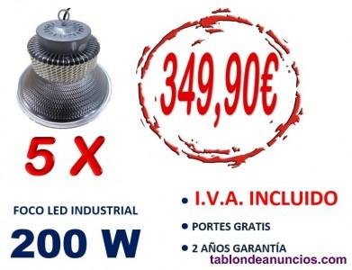 5 campanas led smd industrial 200w