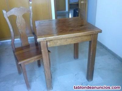 Mesa cuadrada y silla a juego madera maciza colonial mexicana