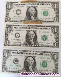 13 billetes distintos de 1 - 2 y 5 dolares
