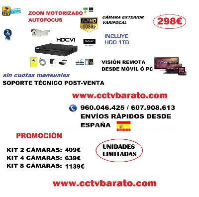 Oferta kit videovigilancia zoom motorizado 1080p full hd.