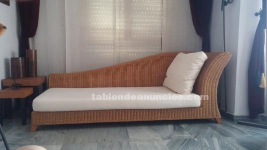 Chaise longue de ratán