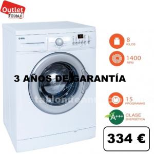 Lavadora 1400r bru el8140d display a+++ 8 kg