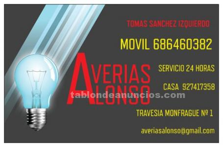 Averias alonso electricistas en plasencia servicio 24 horas  movil 686460382