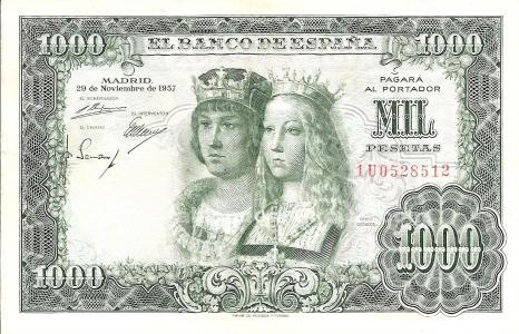 Billete de 1. 000 pesetas reyes catolicos