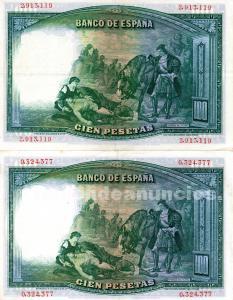 Billetes de 100 pesetas fdez de cordoba