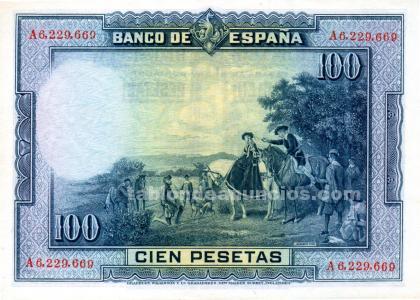 Billete de 100 pesetas cervantes