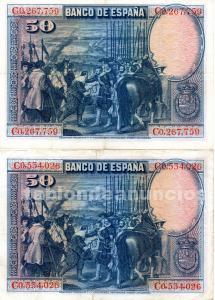 Billetes de 50 pesetas velazquez