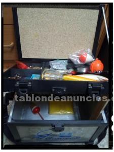 Caja asiento pesca metálico y utensilio