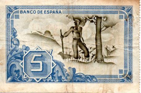 Billete/pagare de cinco pesetas