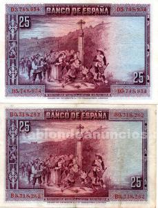 Billetes de 25 pesetas calderon de la barca