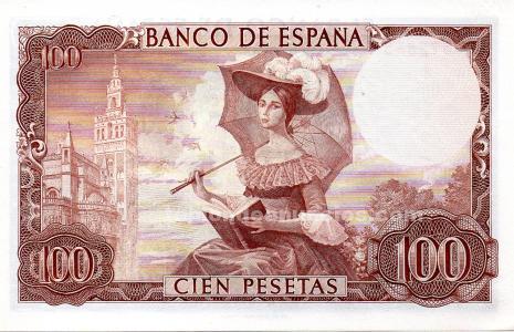 Billetes de 100 pesetas g. A. Becquer