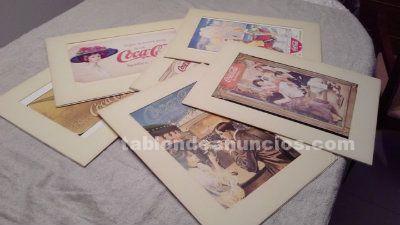 6 laminas coca cola vintage colección