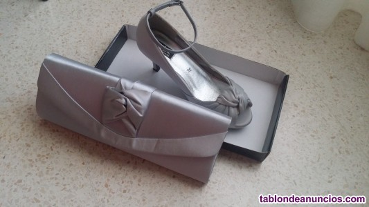 Vendo conjunto de cartera y zapatos de fiesta