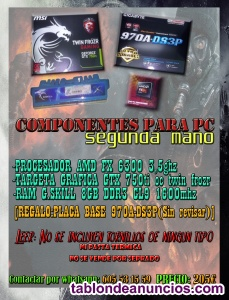 PACK DE COMPONENTES PC REGALO PLACA BASE